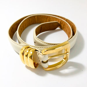Accessories - 🛒 Off White Belt with Gold Buckle